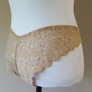 Panties Gold Taupe Lace Satin Size 5 Maidenform